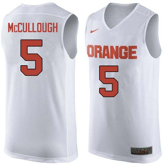 Men #5 Chris McCullough Syracuse White College Basketball Jerseys Sale-White
