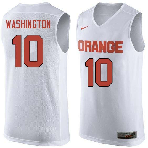 Men #10 Howard Washington Syracuse White College Basketball Jerseys Sale-White