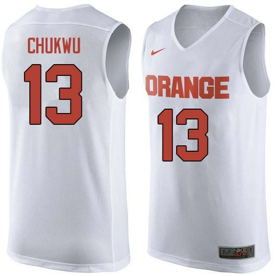 Men #13 Paschal Chukwu Syracuse White College Basketball Jerseys Sale-White