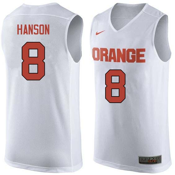 Men #8 Vic Hanson Syracuse White College Basketball Jerseys Sale-White