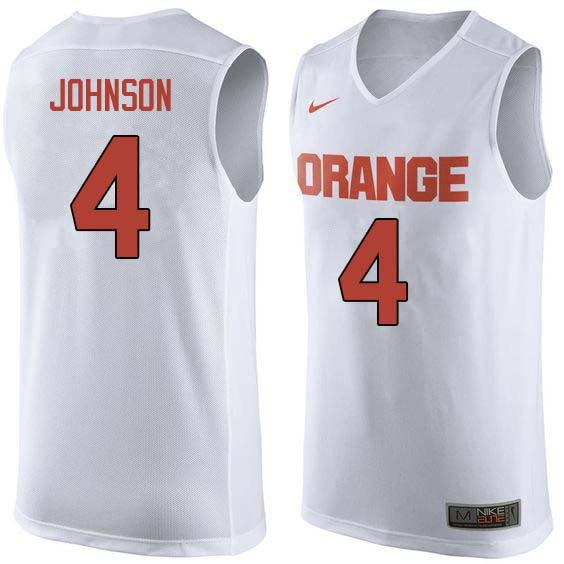 Men #4 Wesley Johnson Syracuse White College Basketball Jerseys Sale-White