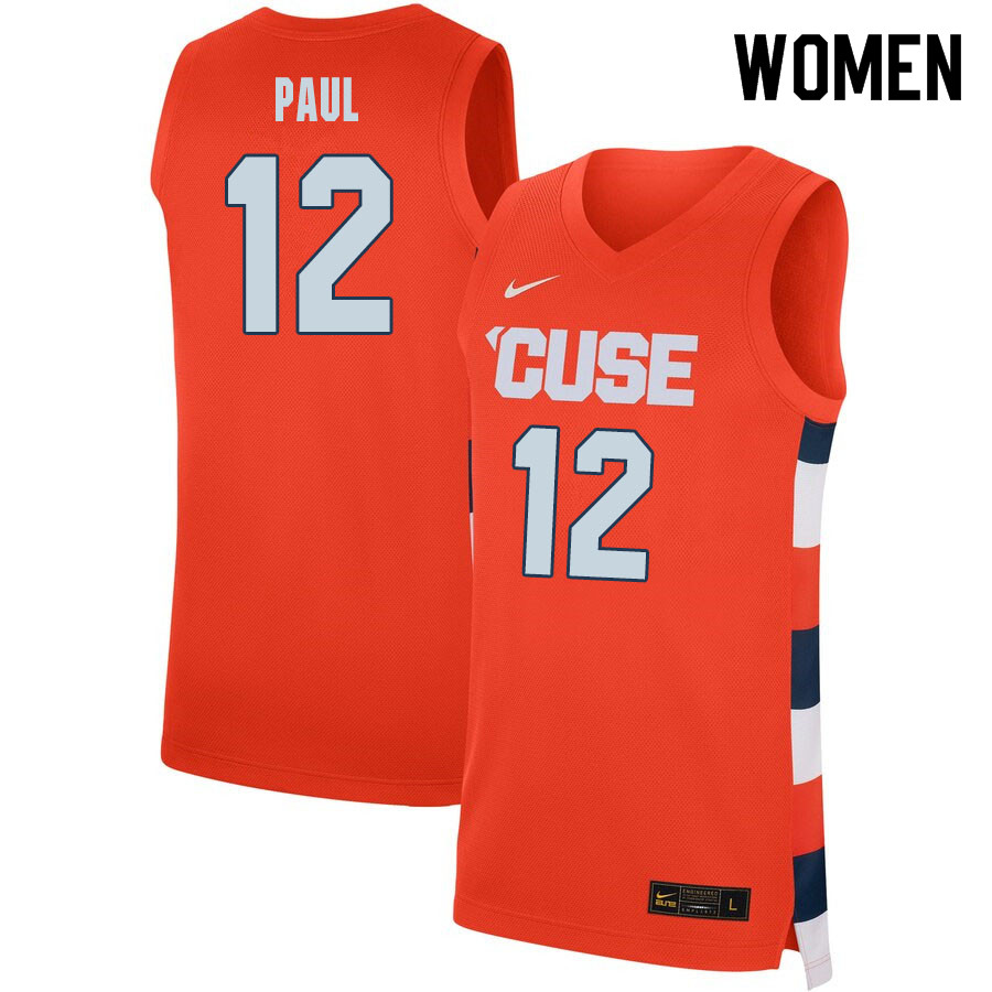 2020 Women #12 Brendan Paul Syracuse Orange College Basketball Jerseys Sale-Orange